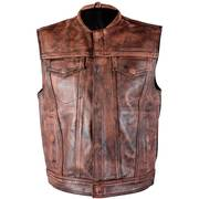 Кожаный жилет Men's 'Crypt' Distressed Brown Leather Premium Cowhide Vest