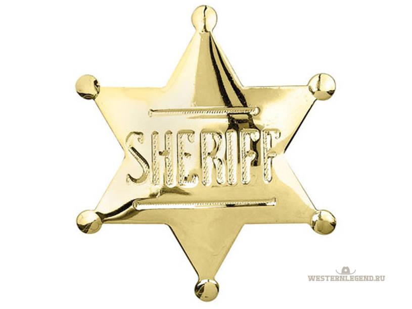 Значок Sheriff Badge Gold от бренда Western