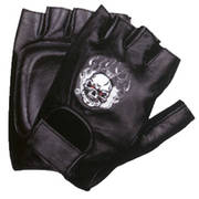 Fire Skull Leather Fingerless