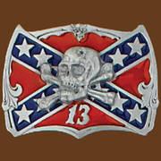 Ременная пряжка Skull on Confederate Flag