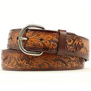 Floral Brown Leather Belt