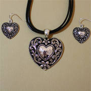 Set Leather Cord Heart