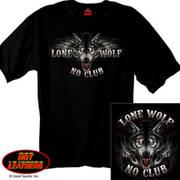 Футболка с изображением животных Lone Wolf Biker Shirt