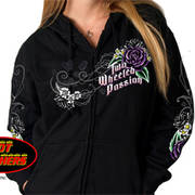 Floral Passion Ladies Zip Hoodie